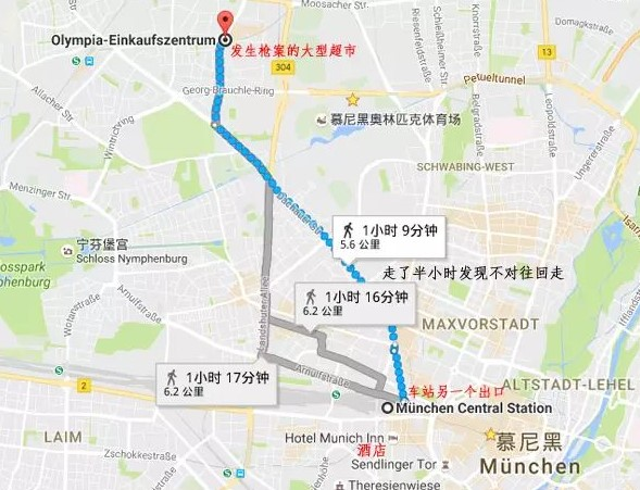 步行回酒店地图